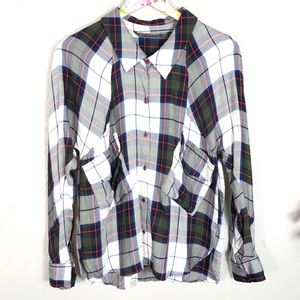 Zara Plaid Double Pocket Button Up Flannel Shirt